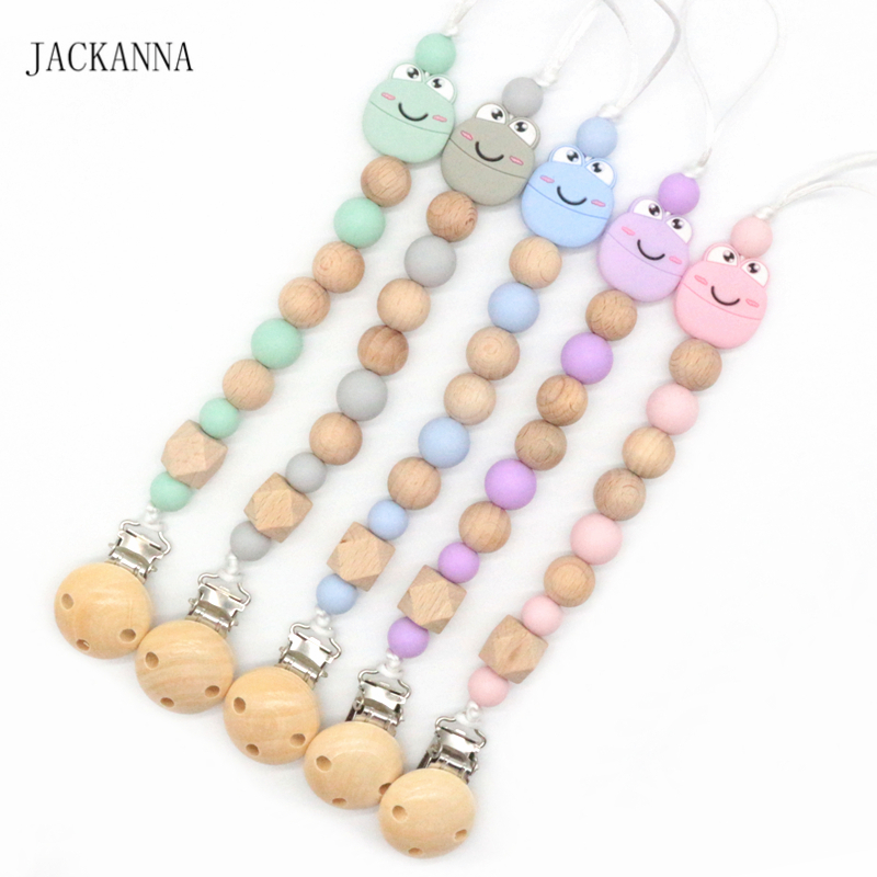 Infant Baby Dummy Clips Baby Pacifier Holder Chain Newborn Shower Gift Cute Frog Beads Pacifier Clips Kids Attache Sucette
