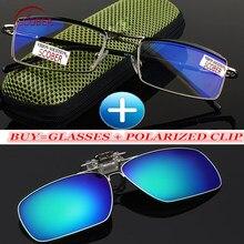 340f0f6a8 SCOBER Clipe Polarizada + Clássico Liga de Titânio Azul Revestido Lentes de  Negócios Dupla Ponte Óculos de Leitura + 0.5 + 0.