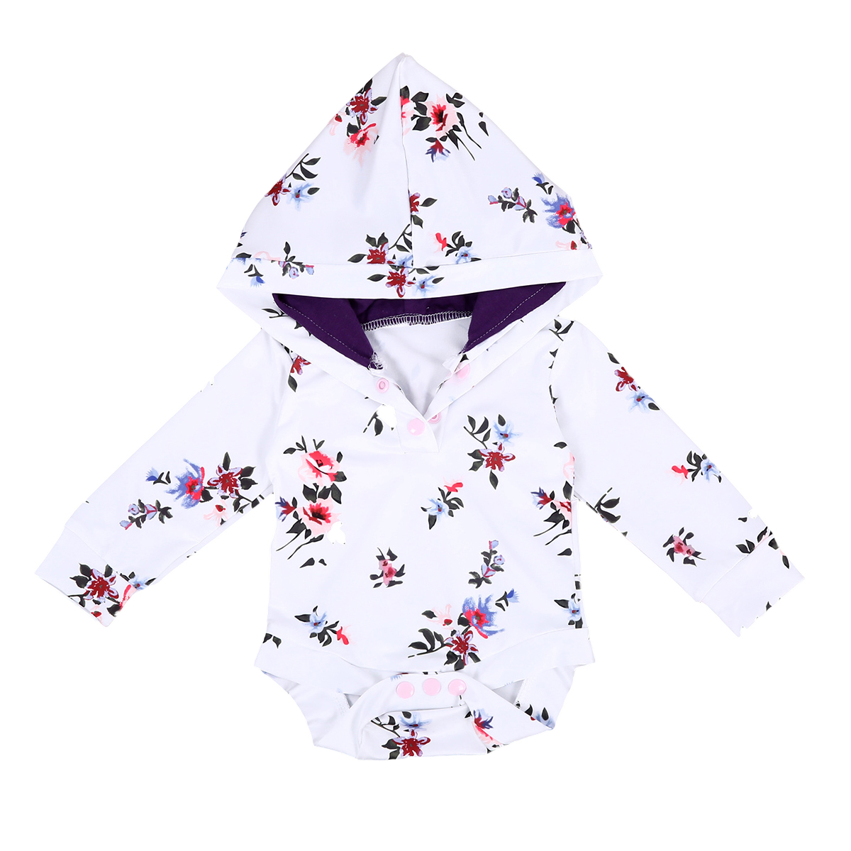 One Piece Floral   Romper   2018 New Newborn Kids Baby Boys Girls Long Sleeve Hooded   Romper   Jumpsuit