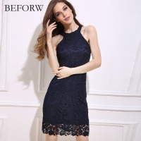 BEFORW Summer New Sexy Yellow Lace Dress Hollow Strapless Nightclub Women Dress Party Dresses High Waist