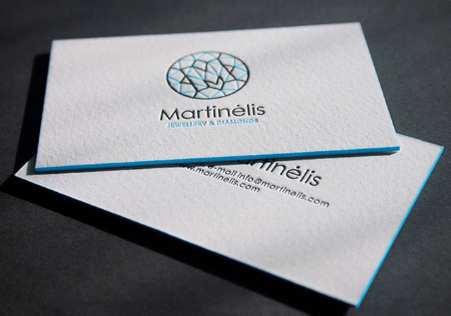 Custom Letterpress Business Cards Duplexed 600gsm Cotton Paper Printing  Edge Colour Paint