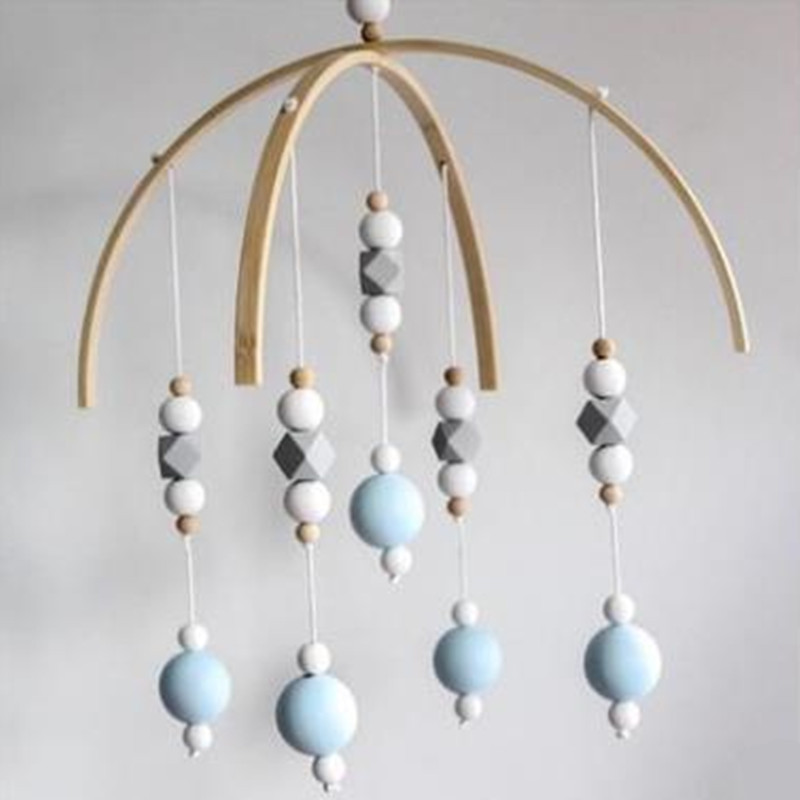Baby Rattle Mobile Toys Wooden Beads Crib Toy Bed Hanging Newborn Wind Chimes Bell Nordic Kids Room Decoration Photography Props(China)
