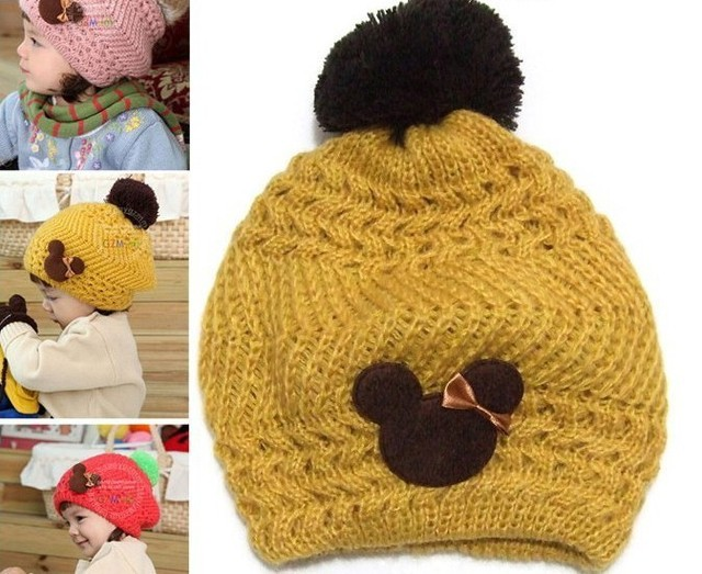 Free shipping  Crochet Hat Baby Berets With bears,Infant Wool Knitted Hats,Kids Beanie Baby Cap,Chidren Winter Hats