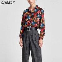 Women Shoulder Pads Blouse Casual Long Sleeve Turn Down Collar Vintage Print Shirt Fashion Ladies Tops