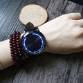 Digital Watch Fashion PU Leather Band Touch Screen LED Watches with Tree Shaped Dial Blue Light Display Time Relojes Mujer 2016