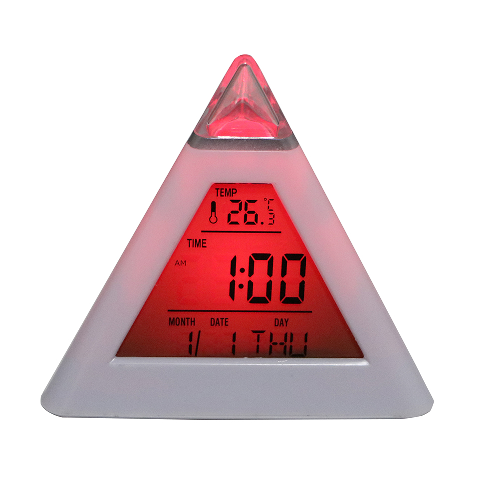 Digital Alarm Clock Thermometer Colorful Cone Pyramid Style For Home Decoration
