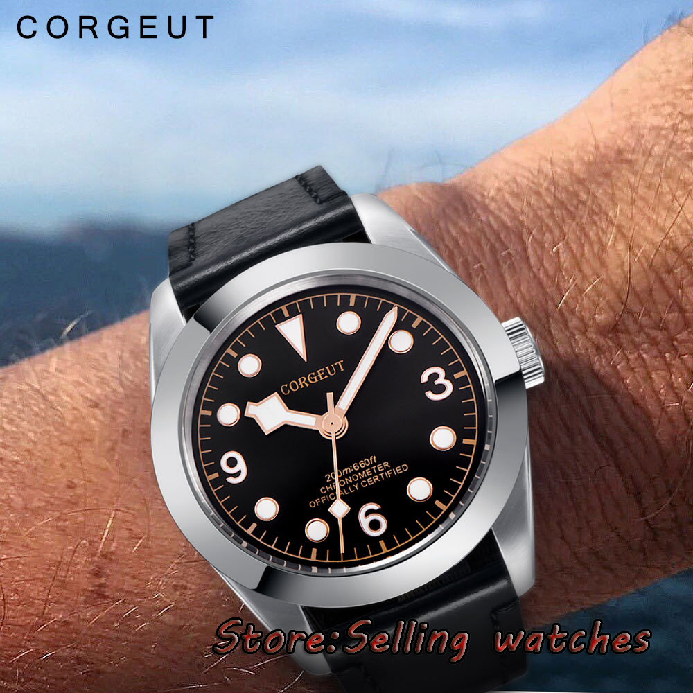 41MM Corgeut black dial sterile dial luminous Sapphire Miyota 8215 Automatic Mens Watch цена и фото