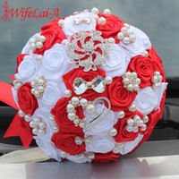 WifeLai-A 1Piece Custom Red White Bow Crystal Brooch Wedding Bouquet Satin Artificial Flowers Bridal Bouquet ramos de novia W112