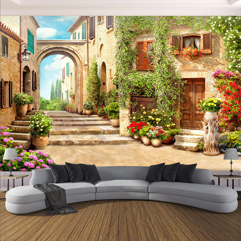 3D Wallpaper European Town Street Background Wall Mural Living Room Bedroom Home Decor Wall Paper For Walls 3 D Papel De Parede