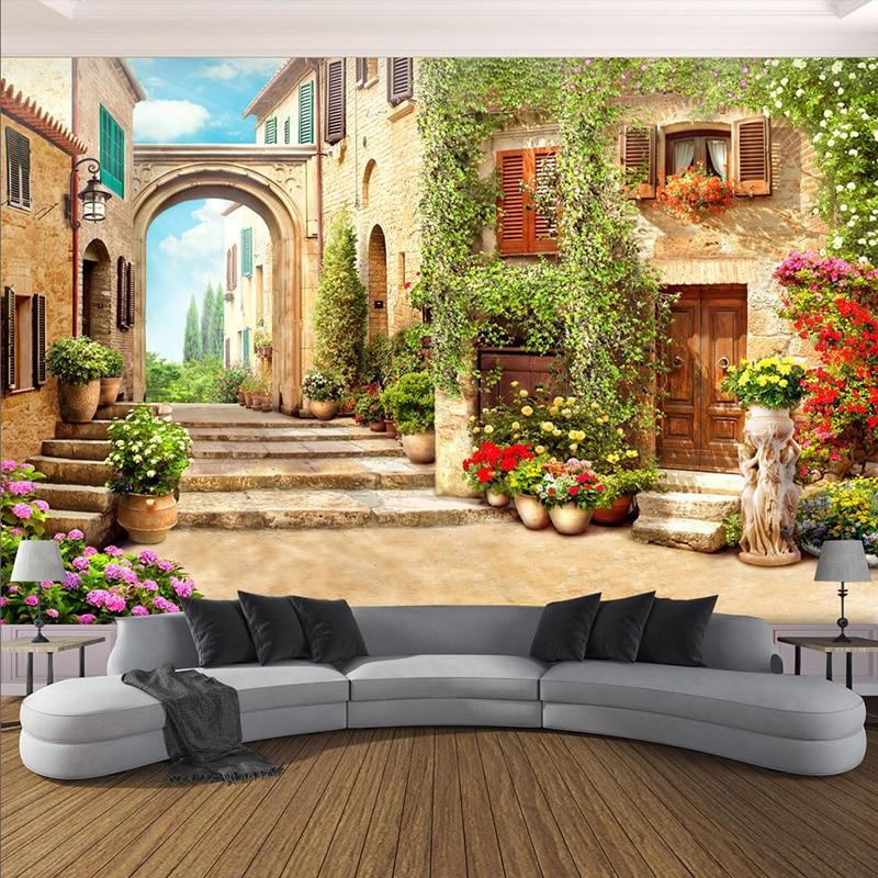 3D Wallpaper European Town Street Background Wall Mural Living Room Bedroom Home Decor Wall Paper For Walls 3 D Papel De Parede