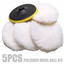 5pcs 7'' 180mm Wool Buffing Pad Detailing Polishing Buffer Pad Wheel Car Auto Car Paint Care Polisher Pads цена и фото