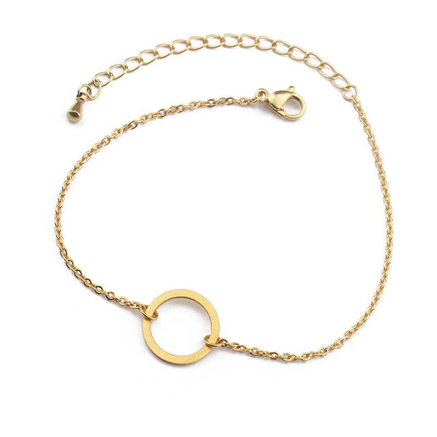 V locka vintage öppen cirkel rose guld charm armband för kvinnor - Märkessmycken - Foto 6