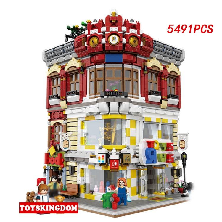 Hot Creative ville rue vue coin Toyshop et librairie bloc de construction modèle briques jouets collection pour enfants cadeaux