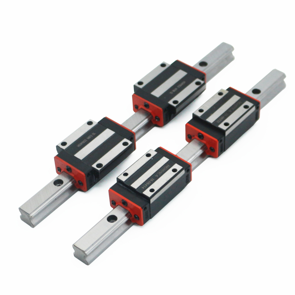 2pc HGR15 Linear Guide Rail Any Length+4pc Linear Block Carriage HGH15CA /flang HGW15CC HGH15 CNC Parts Free Shipping
