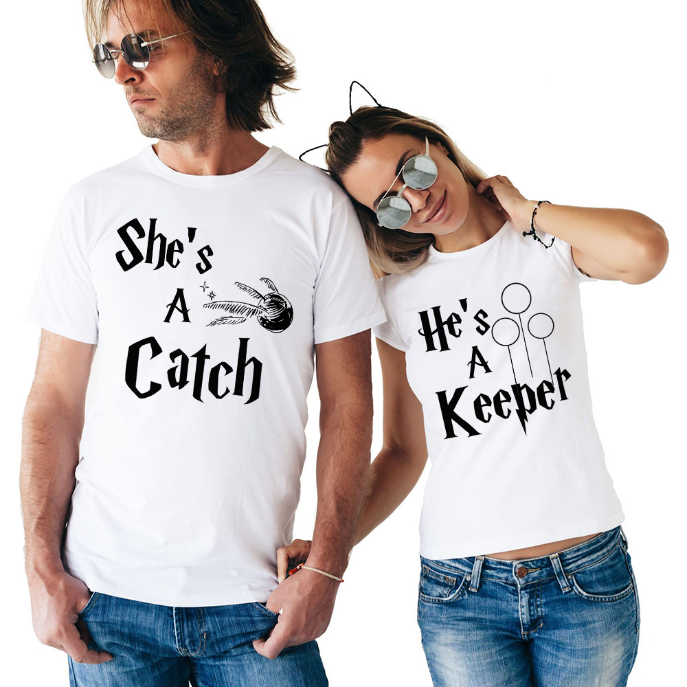 Newest Couple T Shirt She's A Catch He's A Keeper T Shirts Summer Short Sleeve Matching Couple Tops T-shirt Valentines Day Gift