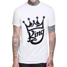 2019 New Crown Design Men T-shirt Short Sleeve 100% Cotton Fashion Cool Mens t shirts King Printed Tee Shrits Hipster Basic Tops