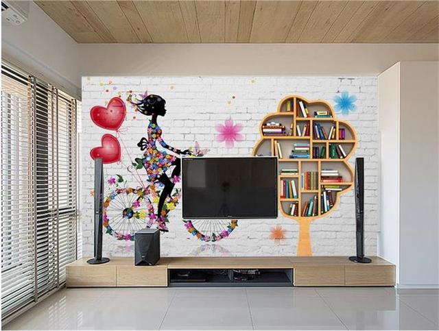 3d chambre papier peint personnalis photo non tiss murale brique tag re murale tv fond. Black Bedroom Furniture Sets. Home Design Ideas
