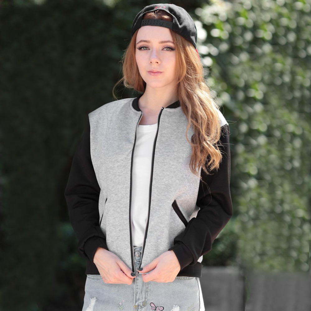 Women New Autumn Winter Jackets Casual Solid Color Stand Collar Cardigan Jacket Short Short with Pockets Female Baseball Clothes