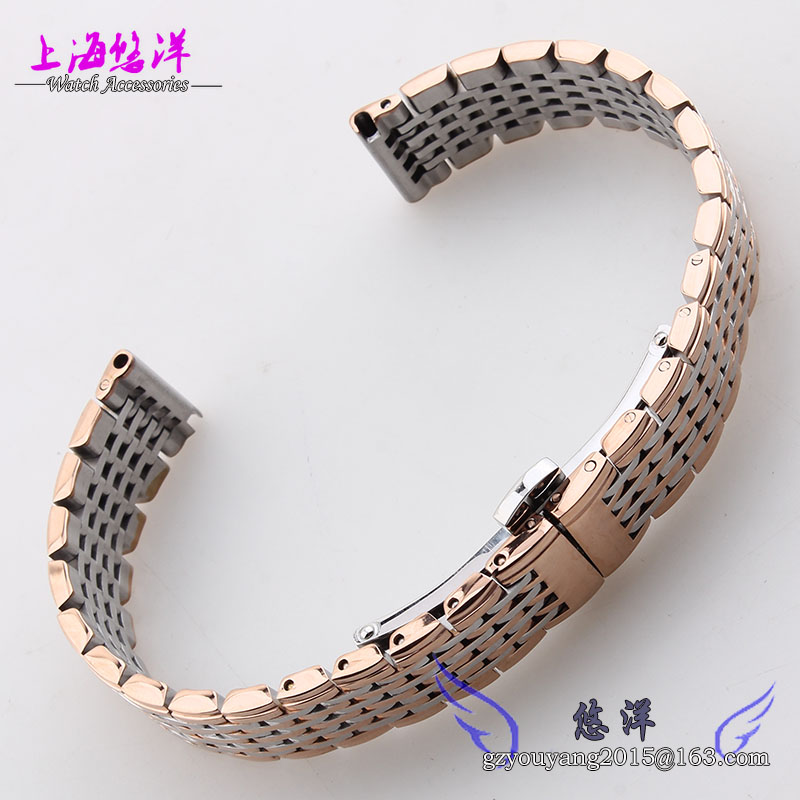 Watch bands 13mm 18mm Silver Metal Watchband Strap Bracelets Double Push Deployment Watch Buckle
