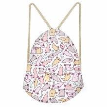 ThiKin Adorable Axolotls Art Print Children Drawstring Bag Fashion Small Backpack Sack for Kids Girls Boys Casual Cinch Bag