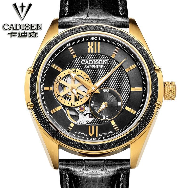 Luxury Brand CADISEN Automatic Mechanical Watch Men Leather belt Business Wristwatch Waterproof Watch Relogio Masculino