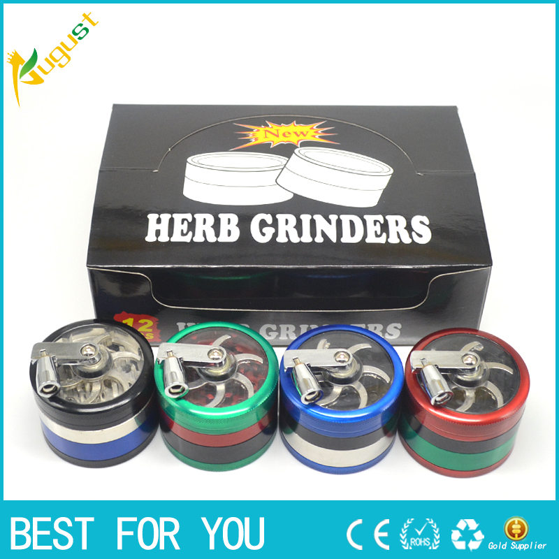 1 piece 4-Layer Zinc Alloy Grinder Pollinator Crusher Hand Crank Tobacco Herb grinder as pipe accessary to somke