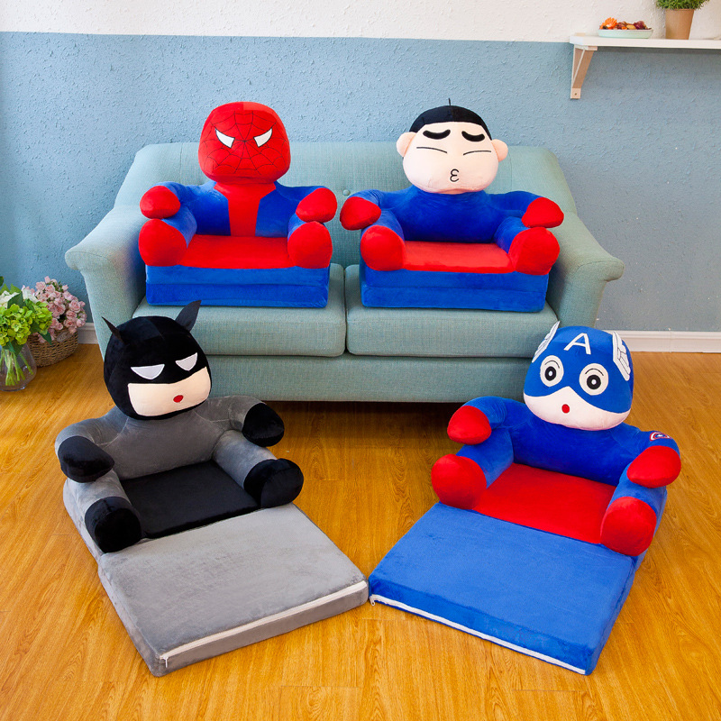 (Sofa Or Sofa Cover)Children's Plush Support Seats Sofa Cartoon The Avengers Spiderman Captain America Chair Baby Seatting Toy