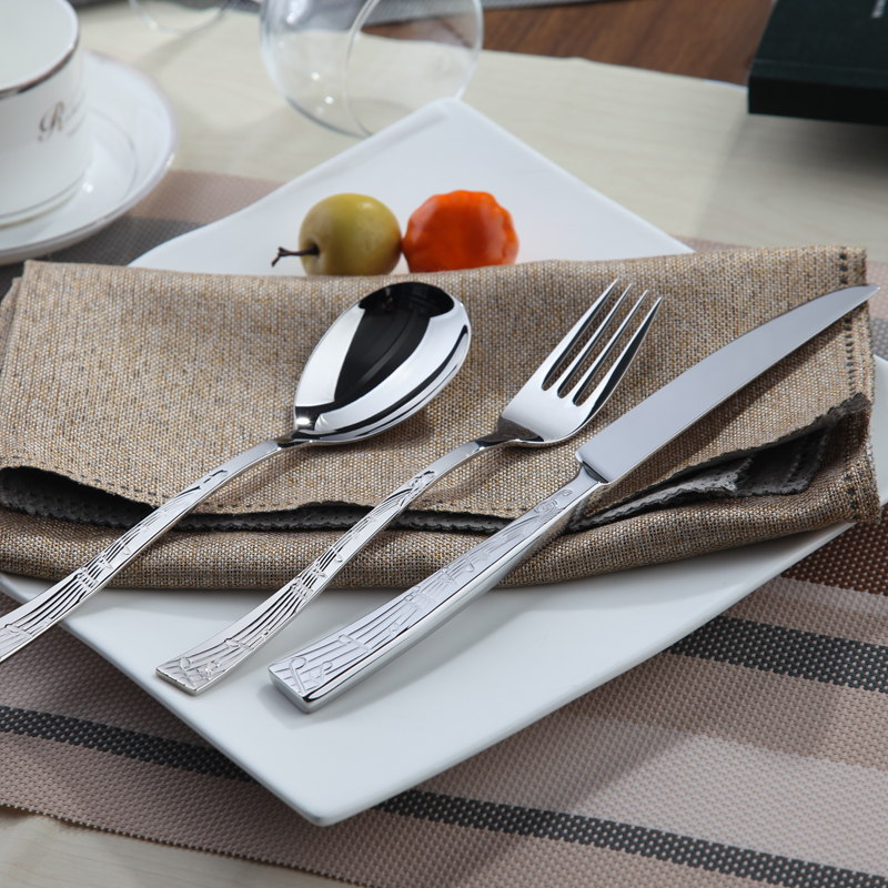 cutlery steel set silver cutlery set stainless steel quality 24 table knives forks family dining. Black Bedroom Furniture Sets. Home Design Ideas