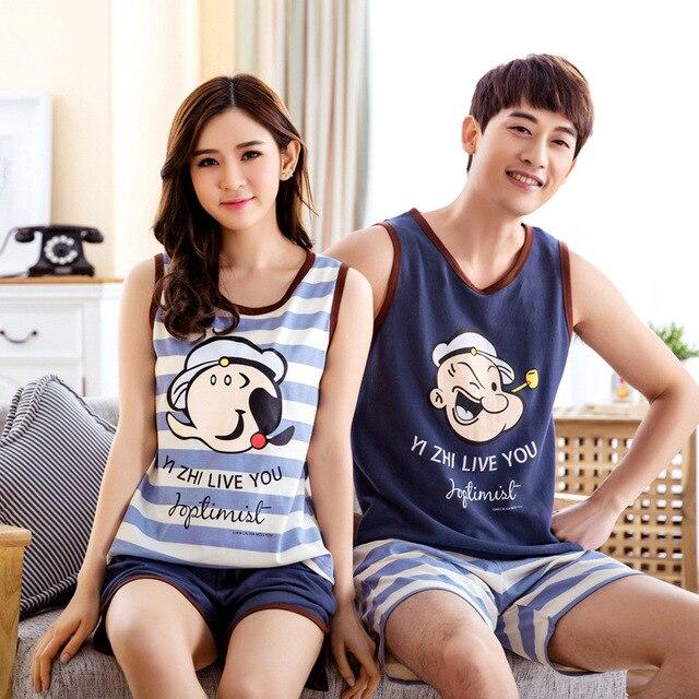 Amantes lindos de la historieta del verano pijamas set noche Sleevelength amantes de la historieta homewear parejas 100% algodón conjuntos de pijamas