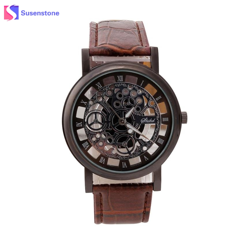 Men Watch Stainless Steel Hollow Dial Clock Fashion Analog Quartz Wirst Watch Roman Numerals Leather Band Sport Watches relogio cheap fashion glitter dial clock watch women casual pu leather analog quartz watch roman numerals dress watches wristwatch