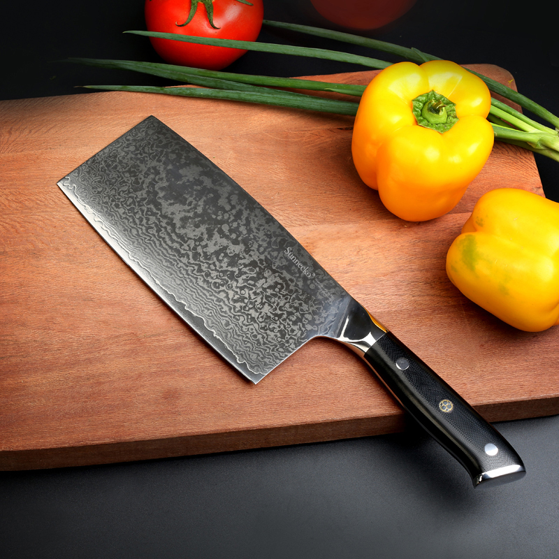 SUNNECKO 7 inches Cleaver Chopping Knife Damascus Steel New High Quality Chinese Cutting Knives VG10 Chef