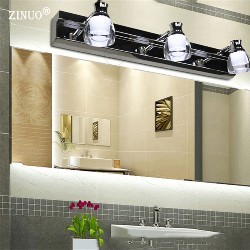 ZINUO 6W 9W High Power Bathroom Led Mirror Lamps 6000-6200K LED Mirror Front Lamp Bathroom Wall Light Stainless Steel AC220V dvolador luxury crystal led mirror front light 10w 15w ac110 220v bathroom waterproof anti fog led stainless steel wall light