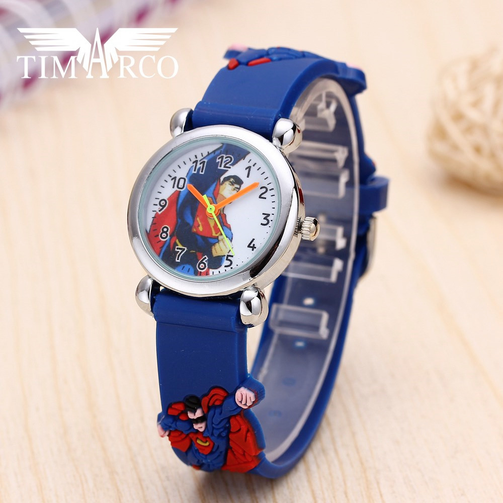 Hot Enfant Ceasuri Cartoon Boy Watches 3D Silicone Strap Baby Clocks Leisure Sport Gift Rejores Suprerman Student Dress Saats