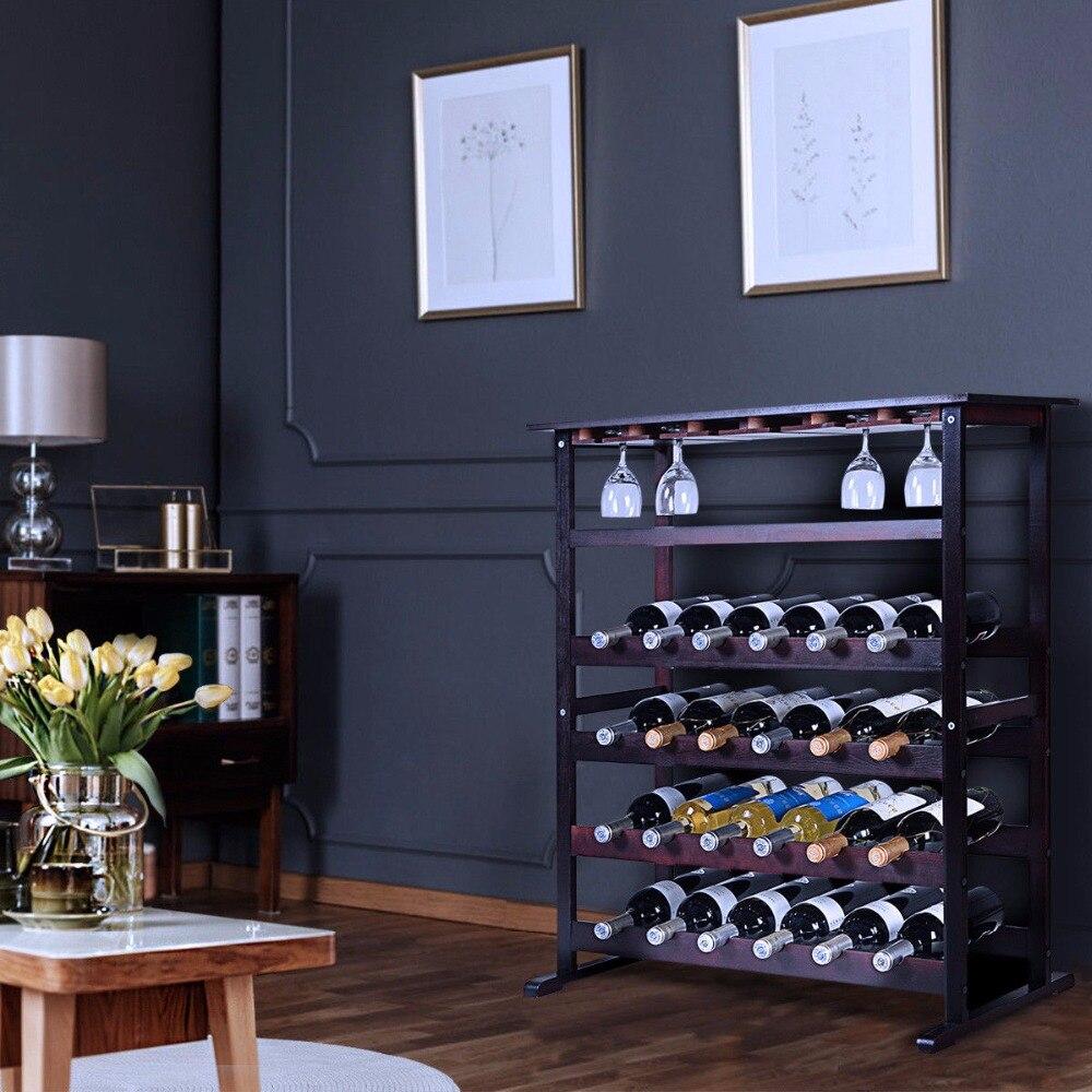 Goplus New 24 Bottle Wood Wine Rack Holder Storage Shelf Display W/ Glass Hanger HW51143