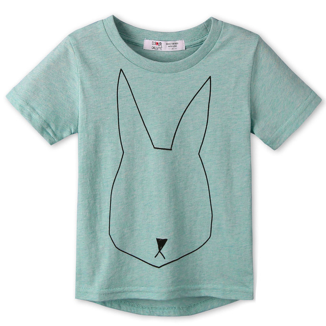 2017 Новое поступление; детская одежда 100% хлопок Джерси повторяющийся кролик печати Рубашка с короткими рукавами детская футболка для мальчиков и девочек 2 цвета cozytops