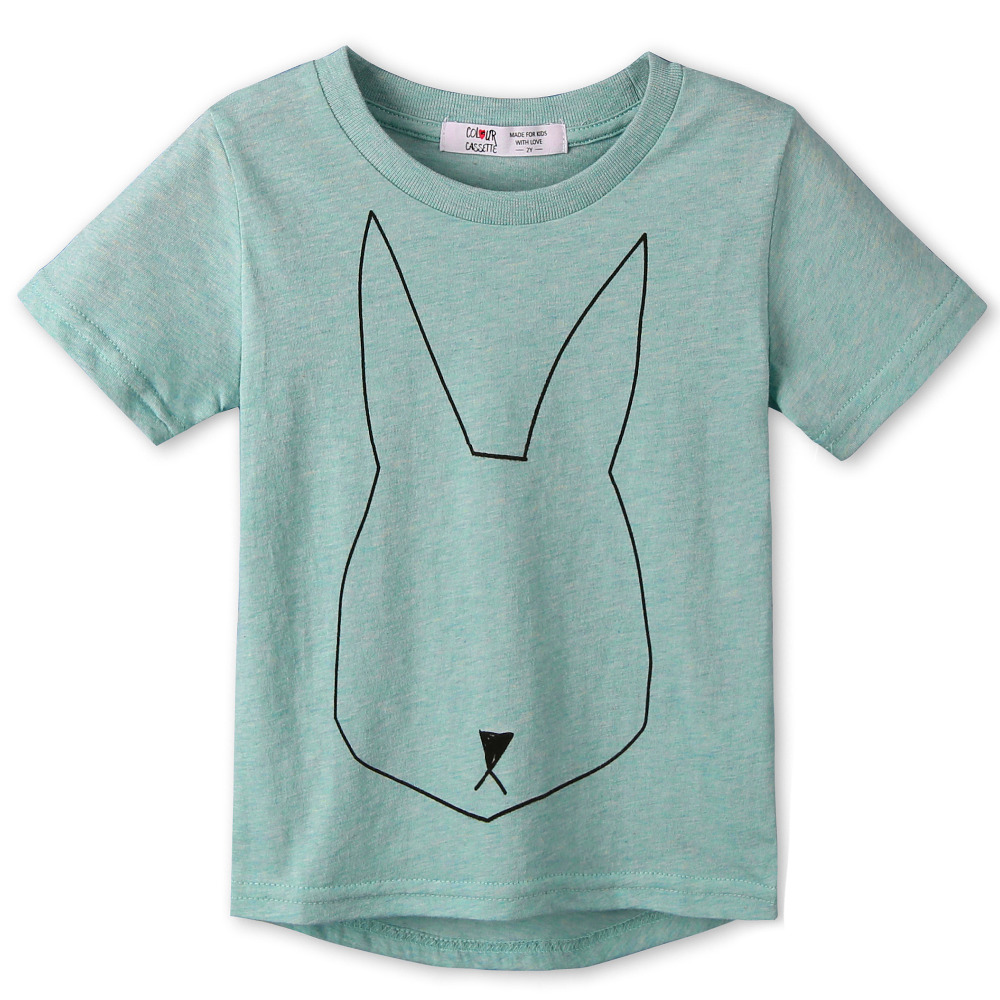 2017 New Summer Children Clothes 100%Cotton Jersey Allover Rabbit Print Short Sleeves Kids boy's girls T shirt 2 colors cozyTops