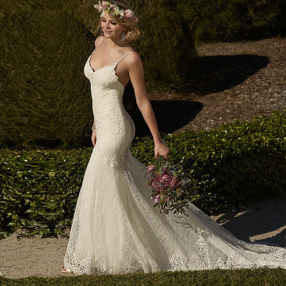 most sexy sweetheart spaghetti strap mermaid lace wedding