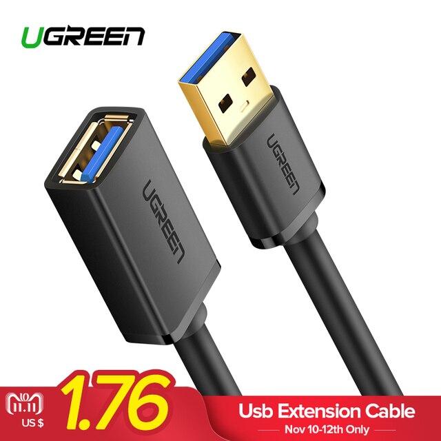 Ugreen USB кабель-удлинитель USB 3,0 кабель для Smart ТВ PS4 Xbox One SSD USB3.0 2,0 к Extender данных шнур Mini USB кабель-удлинитель