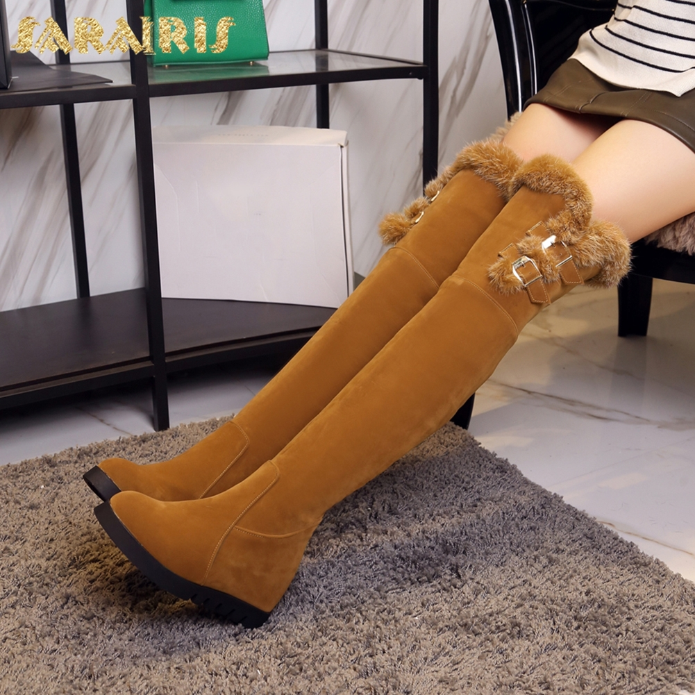 SARAIRIS 2018 Large Size 33-43 Increasing Heel Women Shoes Zip Up Knee High Boots Add Fur Winter Boots Woman Shoes цена