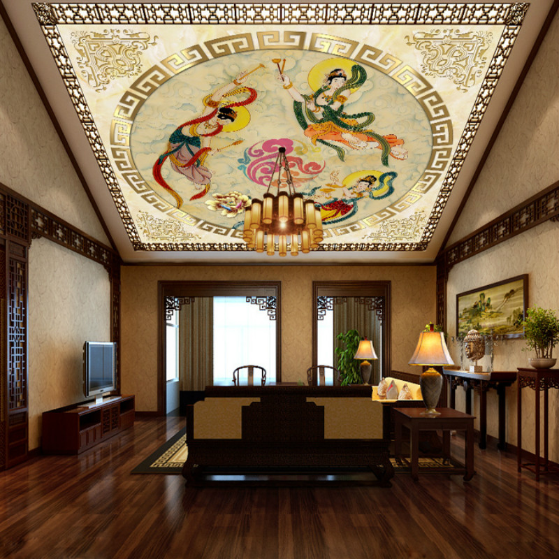 Large custom home decorations Continental Hotel Villa ceiling frescoes in Dunhuang Flying Fairy