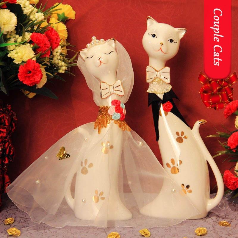 kawaii kerámia macska esküvői ajándék lakberendezés kézműves - Lakberendezés