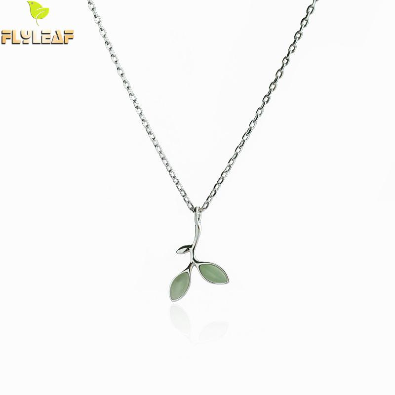 Flyleaf 100% Sterling Silver Opal Leaves Buds Necklaces & Pendants For Women Creative Fashion Collar Clavicle Jewelry