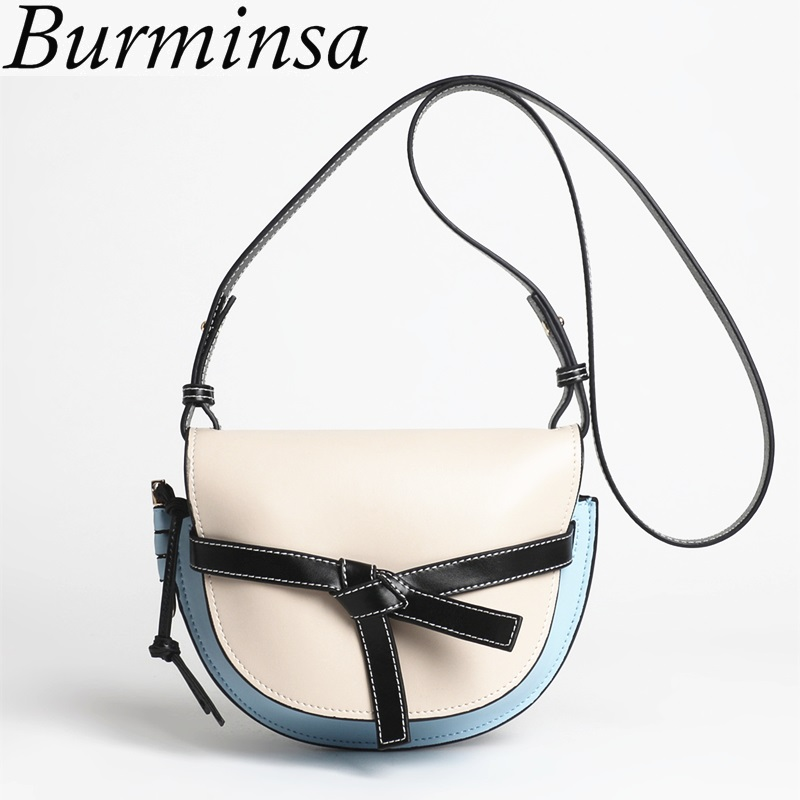 Burminsa Fresh Small Bowknot Genuine Leather Bags Women Hit Color Designer Handbags High Quality New Shoulder Messenger Bag 2018