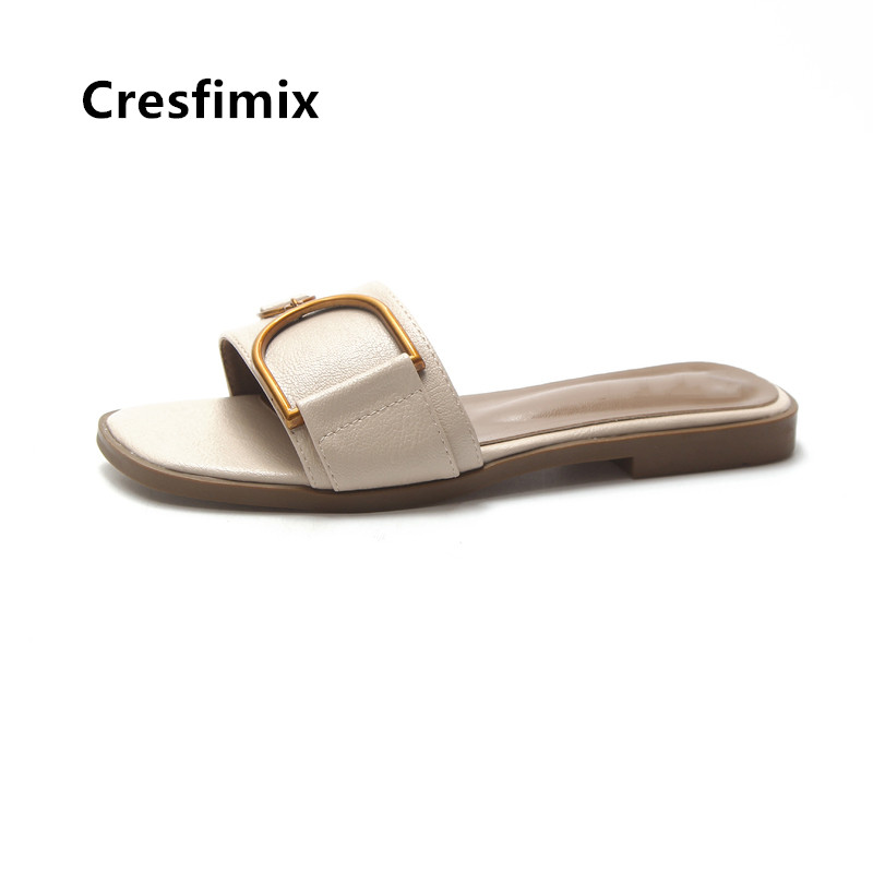 Cresfimix Women Cute Light Weight White Pu Leather Slippers Female Casual Beige Spring Slippers Slides Pantoufles Femmes B5037
