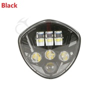 Black/Chrome LED Headlight Lamp For Polaris Victory Cross Country Magnum 2014 16 8 Ball Cory Ness Cruisers Motorcycle