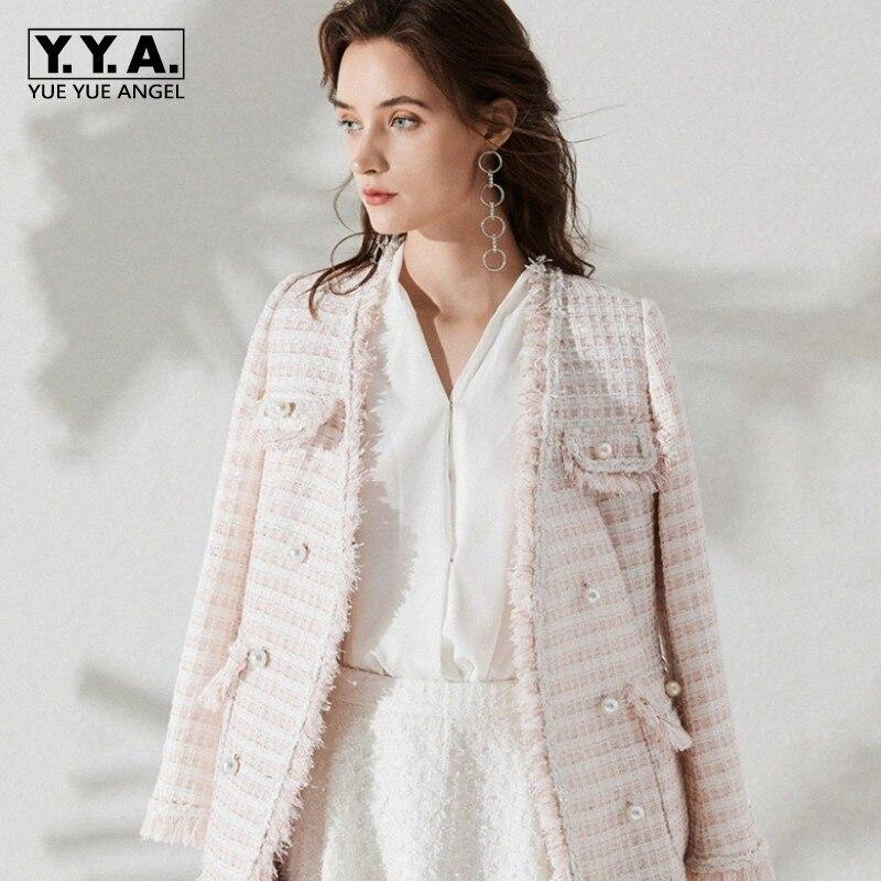 Одежда высшего качества с бахромой твидовое пальто Для женщин розовый шик женский пиджак осень с длинным рукавом Бисер клетчатые куртки Дл