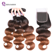 Cambodian Hair Ombre Bundles with Closure 1B/4/30 Color Ombre Blonde Body Wave Human Hair 3 Bundles with Closure Non Remy Hair(China)