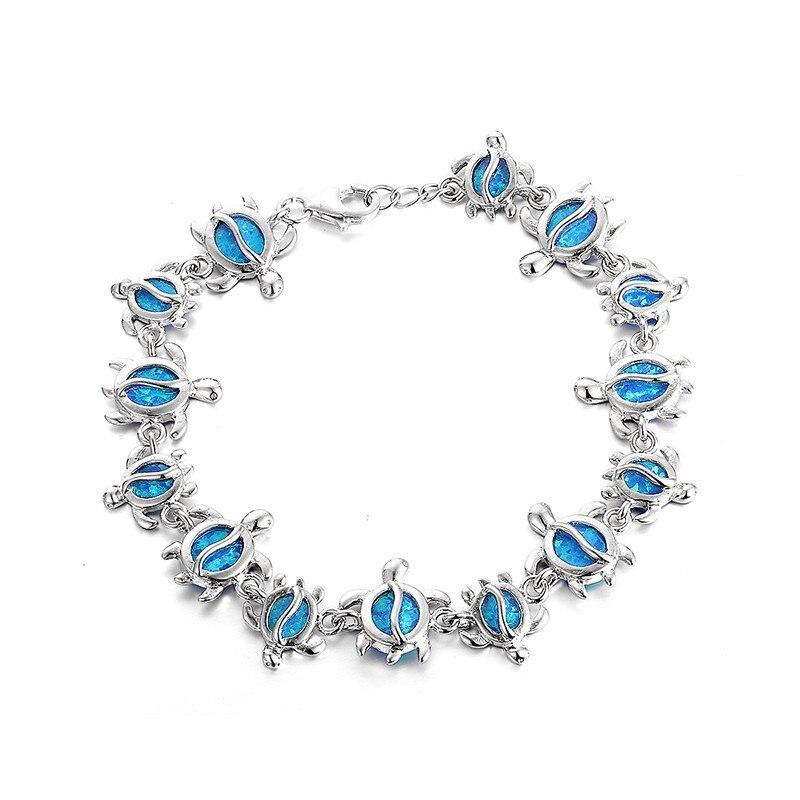 New 925 sterling silver fire opal Women Bracelets Cute Turtles 925 silver bracelet Fashion jewelry Wholesale FB094H70
