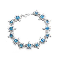 New 925 sterling silver fire opal Women Bracelets Cute Turtles 925 silver bracelet Fashion jewelry Wholesale FB094H70