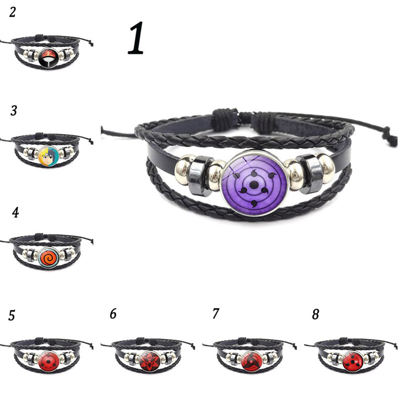 rinnegan eyes naruto bracelet sharingan eye black leather bracelet